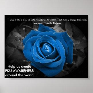 青のバラPKUの認識度ポスター ポスター