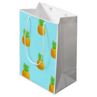 青のパイナップルパターン ミディアムペーパーバッグ