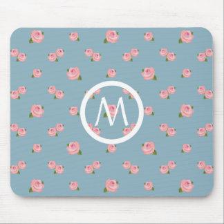 青のピンクのバラパターン(名前入りな) マウスパッド