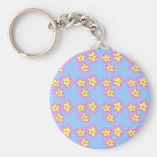 青のピンクの花 キーホルダー