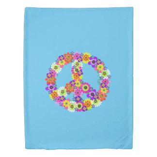 青のピースサインの花柄 掛け布団カバー