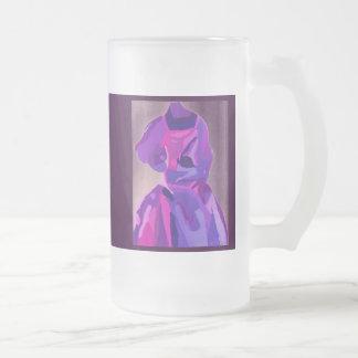 青のファッショニスタ花型女性歌手 フロストグラスマグカップ