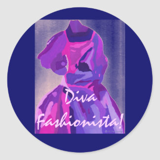 青のファッショニスタ花型女性歌手 丸形シールステッカー