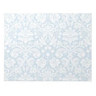 青のファンシーなダマスク織パターン ノートパッド