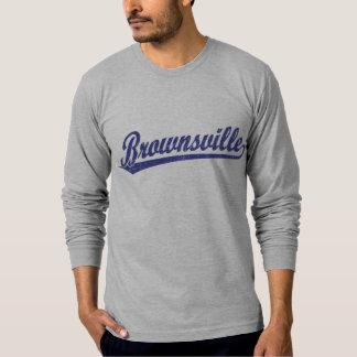 青のブラウンズヴィルの原稿のロゴ Tシャツ