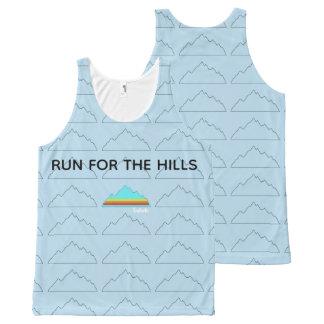 青のプリントタンクをくまなく丘のために走って下さい オールオーバープリントタンクトップ