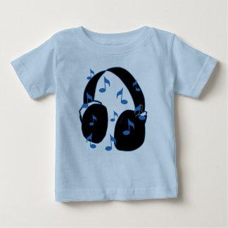 青のベビーのための音符が付いているヘッドホーン ベビーTシャツ