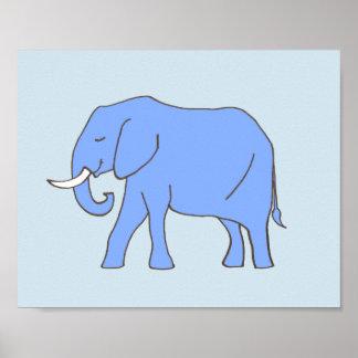 青のベビー象の子供部屋の芸術 ポスター