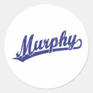 青のマーフィーの原稿のロゴ ラウンドシール