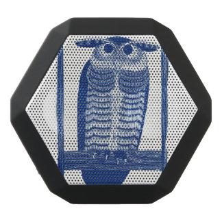 青のモダンなフクロウを引用して下さい ブラックBluetoothスピーカー