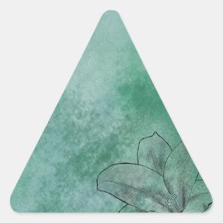 青のユリ 三角形シール