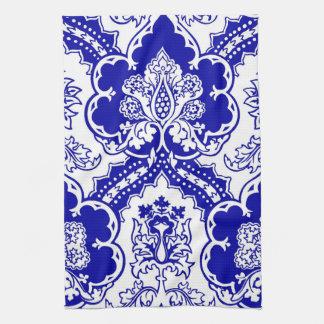 青のリミックスされたドイツのゴシック様式デザイン、 キッチンタオル