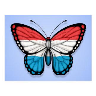 青のルクセンブルクの蝶旗 ポストカード