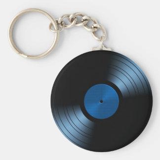 青のレトロのレコードのアルバム ベーシック丸型缶キーホルダー