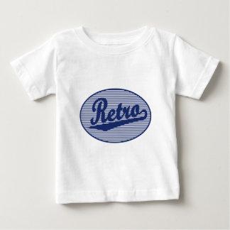 青のレトロの原稿のロゴ ベビーTシャツ