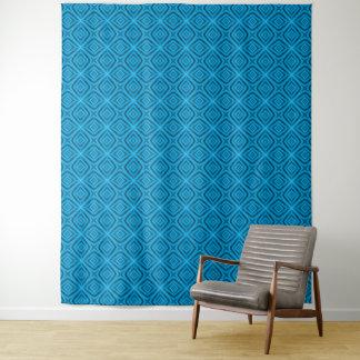 青のヴィンテージの万華鏡のように千変万化するパターンの壁のタペストリー タペストリー