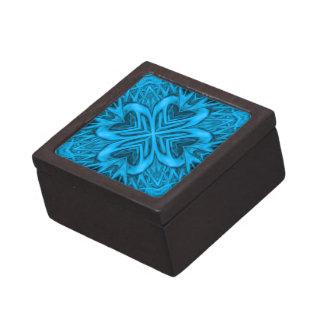 青のヴィンテージの万華鏡のように千変万化するパターンの木製のギフト用の箱 ギフトボックス