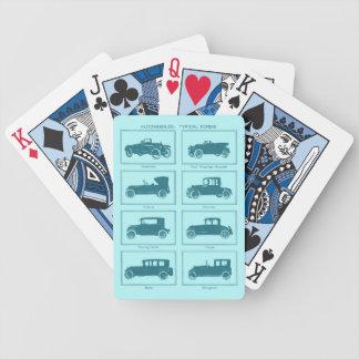 青のヴィンテージの自動車カジノカード バイスクルトランプ
