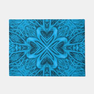 青の万華鏡のように千変万化するパターンのドア・マット ドアマット