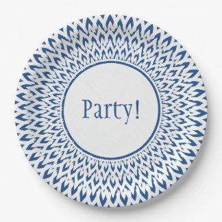 青の上品ペーパーPLATE_の白いスターバスト ペーパープレート