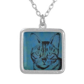 青の不完全な猫 シルバープレートネックレス
