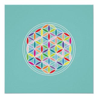 青の人生の多彩の花 ポスター