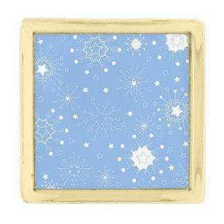 青の休日の雪片 金色 ラペルピン