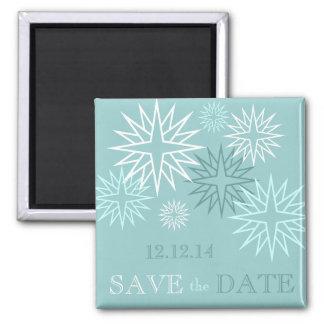 青の保存日付の冬の結婚式の磁石 冷蔵庫マグネット