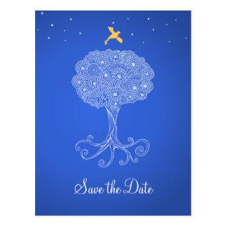 青の保存華美な生命の樹日付 ポストカード