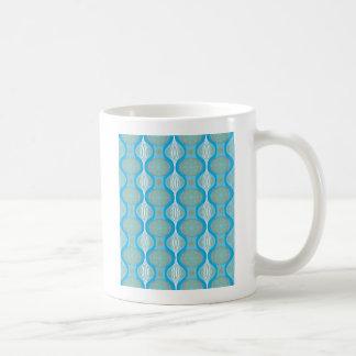 青の元のレトロのデイジーパターン コーヒーマグカップ