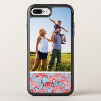 青の写真の明るいピンクのフラミンゴ オッターボックスシンメトリーiPhone 8 PLUS/7 PLUSケース