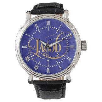青の原稿のヤコブの名前入りで渦巻形のな金ゴールド 腕時計