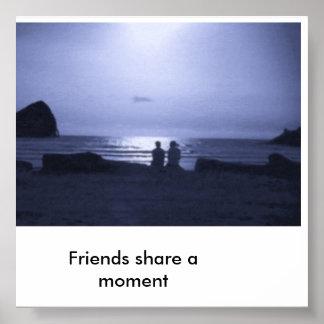 青の友人、友人は時を共有します プリント