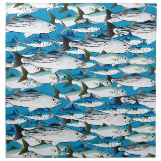 青の大西洋の波魚の学校 ナプキンクロス