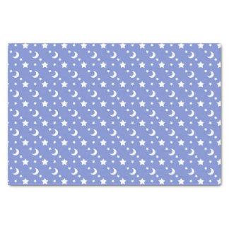 青の天の星および月パターン 薄葉紙