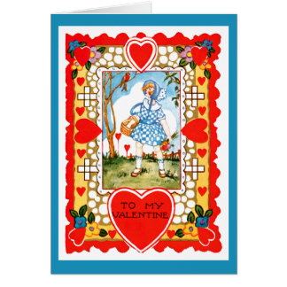 青の女の子を持つヴィンテージのバレンタイン カード