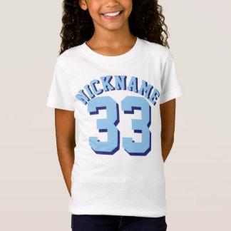 青の子供|のスポーツのジャージーの白い及びデザイン Tシャツ