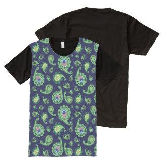 青の孔雀のペイズリー オールオーバープリントT シャツ