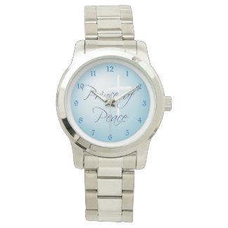青の平和キリスト教の十字の王子 腕時計