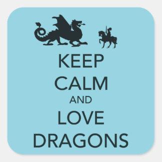 青の平静および愛ドラゴンのユニークなプリントを保って下さい スクエアシール