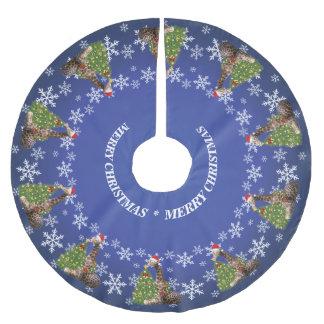 青の愛らしく風変わりなクリスマスのキリン ブラッシュドポリエステルツリースカート