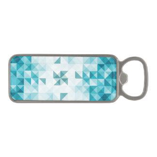 青の抽象的で幾何学的な背景のテンプレート マグネット栓抜き