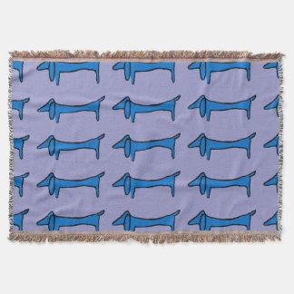 青の抽象的なダックスフント スローブランケット