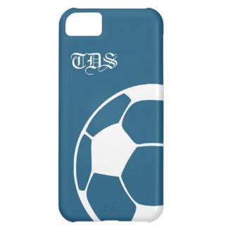 青の抽象的なモノグラムのサッカーのiPhone 5の場合 iPhone5Cケース