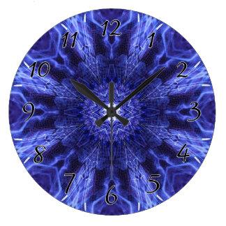 青の抽象的な古代芸術 ラージ壁時計