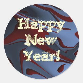 青の抽象的な新年 ラウンドシール