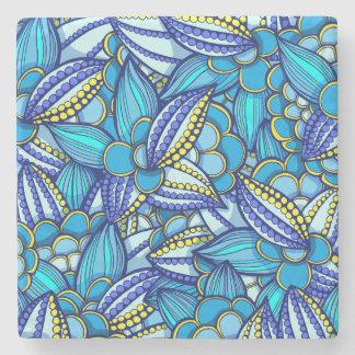 青の抽象的な民族のココア豆パターン ストーンコースター