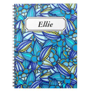 青の抽象的な民族のココア豆パターン ノートブック