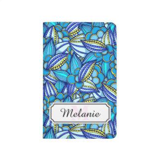 青の抽象的な民族のココア豆パターン ポケットジャーナル