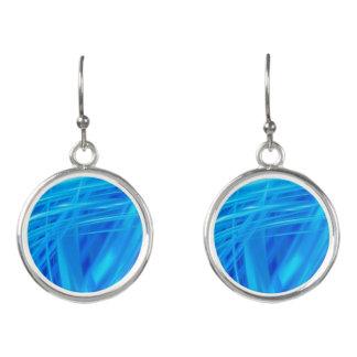 青の抽象芸術によるライト イヤリング